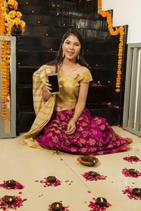 Teenager Girl Showing Smartphone Diwali Celebratin