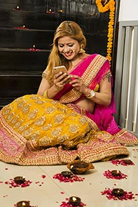Woman Housewife Messaging Phone Diwali Celebration