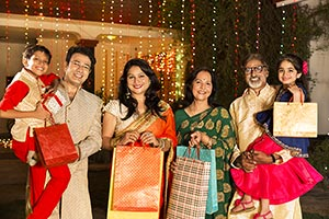 Joint Family Diwali Gift Shopping Bag Celebration